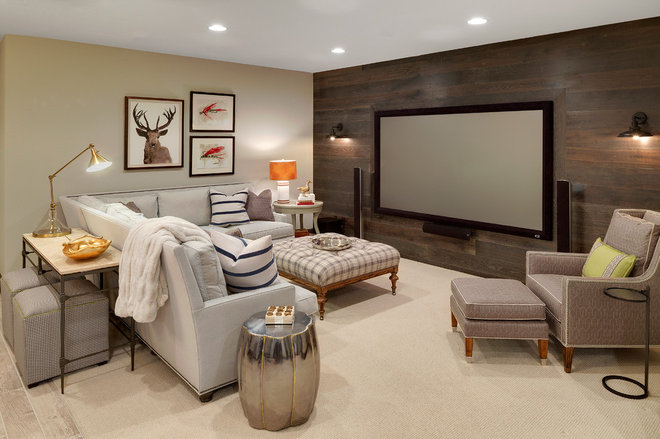 Rustic Basement by Grace Hill Design