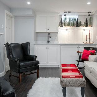 Inspiration pour un petit sous-sol sud-ouest américain donnant sur l'extérieur avec un mur gris, un sol en vinyl, une cheminée standard et un manteau de cheminée en pierre.