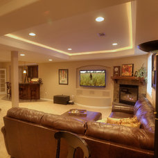 Eclectic Basement by Brothers Construction