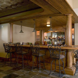 Wet Bar with Slate Tile Floor, Tin Ceiling and Knotty Alder Cabinetry