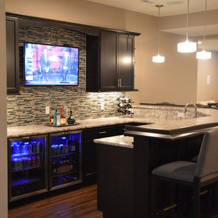 Inspiration for a transitional brown floor basement remodel in Detroit