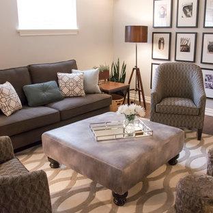 Idée de décoration pour un sous-sol minimaliste semi-enterré et de taille moyenne avec un mur gris, un sol en linoléum et aucune cheminée.