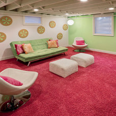 Midcentury Basement by crbs co.