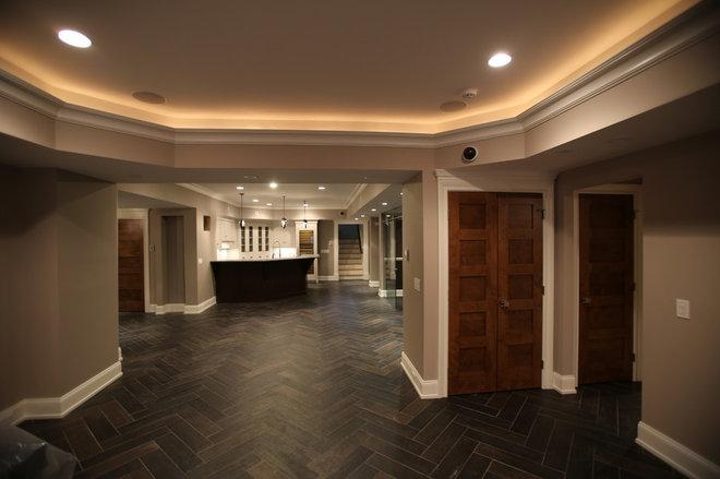 Contemporary Basement by MFM Design & Construction llc