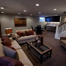 transitional basement by Orfield Remodeling, Inc