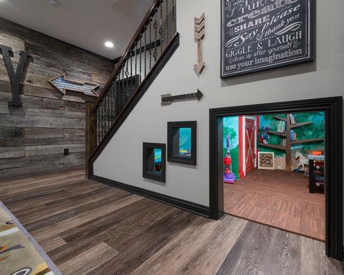 large craftsman underground laminate floor basement idea in with gray walls