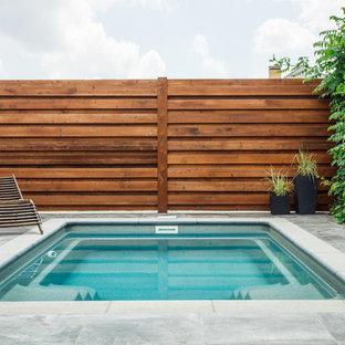 Создайте стильный интерьер: прямоугольный бассейн на заднем дворе в современном стиле с покрытием из плитки - последний тренд