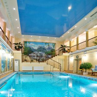 Новые идеи обустройства дома: спортивный, прямоугольный бассейн в доме в классическом стиле