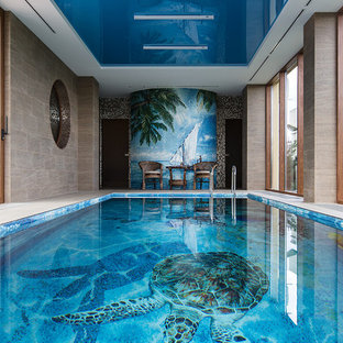 Example of a trendy indoor rectangular lap pool design in Moscow