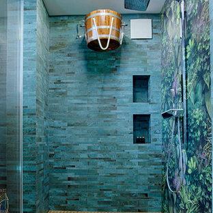 Ejemplo de piscinas y jacuzzis infinitos, grandes, interiores y rectangulares, con suelo de baldosas