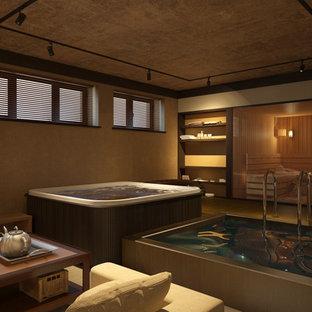 Свежая идея для дизайна: большой естественный, прямоугольный бассейн в доме в скандинавском стиле с джакузи и покрытием из плитки - отличное фото интерьера