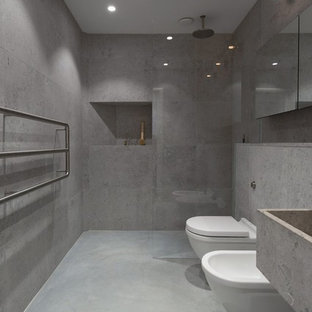 Inspiration for a mid-sized modern master bathroom in Other with an alcove shower, gray tile, grey walls, concrete floors, concrete benchtops, a bidet and a trough sink.
