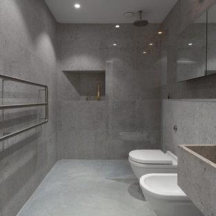 Ejemplo de cuarto de baño principal, moderno, de tamaño medio, con ducha empotrada, baldosas y/o azulejos grises, paredes grises, suelo de cemento, encimera de cemento, bidé y lavabo de seno grande