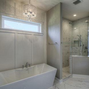 Example of a large minimalist bathroom design in Omaha