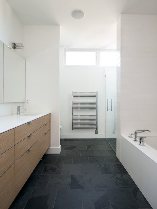 Mid Sized Contemporary Master Bathroom In Minneapolis With An Undermount  Sink, Flat Panel