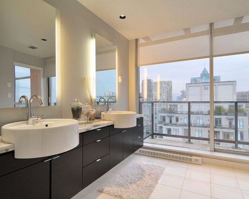 Contemporary Bathroom Idea In Toronto With A Vessel Sink