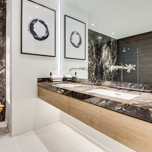 Bon Example Of A Trendy Master Multicolored Tile And Stone Slab White Floor  Bathroom Design In Los