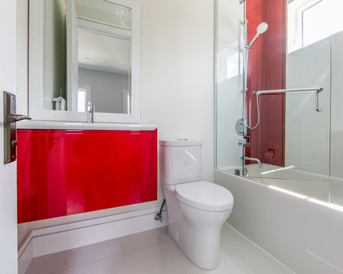 Bathroom ideas photos with red cabinets and glass front for Bathroom ideas with red walls