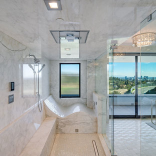 Inspiration for a huge modern white tile and stone slab mosaic tile floor, white floor and tray ceiling bathroom remodel in Los Angeles with white walls and a hinged shower door