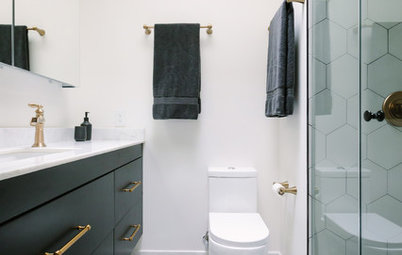 Bold Black-and-White Style for a Small Master Bath