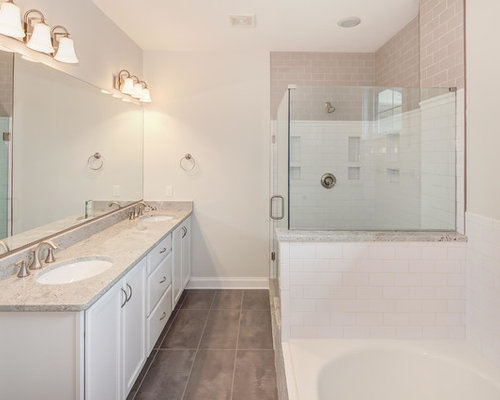 white master bathrooms. Transitional Master White Tile And Ceramic Floor Bathroom Photo In DC Metro With Bathrooms S