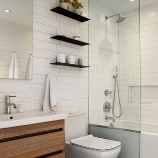 example of a small trendy kids white tile gray floor bathroom design in new york - Bathroom Tub Ideas