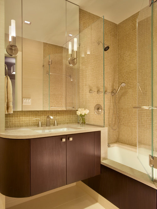 example of a midsized trendy master tubshower combo design in new york - Tub Shower Doors
