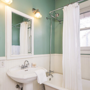 Elegant Claw Foot Bathtub Photo In Seattle With A Pedestal Sink And Green Walls