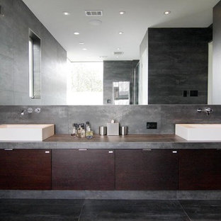 Bathroom Contemporary Gray Tile Floor Idea In Houston With Concrete Countertops Flat
