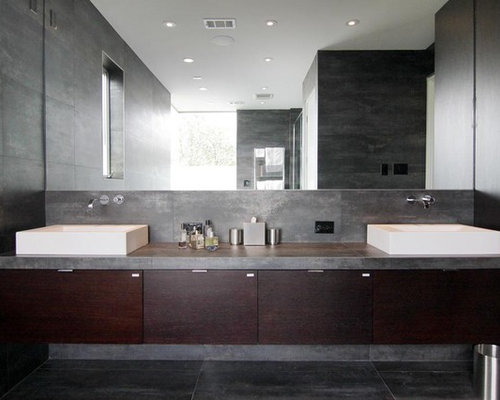 Bathroom   Contemporary Gray Tile Gray Floor Bathroom Idea In Houston With  Concrete Countertops, Flat Great Ideas
