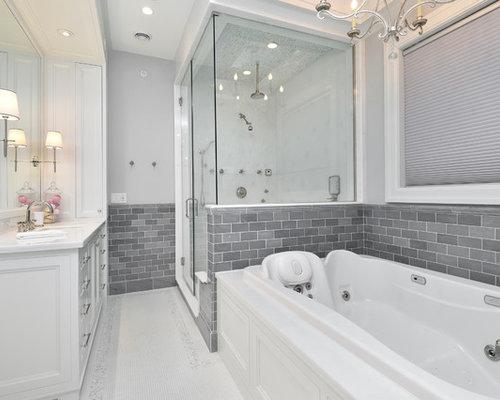 salle de bain classique avec un carrelage m tro photos et id es d co de salles de bain. Black Bedroom Furniture Sets. Home Design Ideas