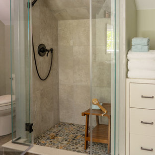Inspiration for an expansive farmhouse family bathroom in Boston with shaker cabinets, an alcove shower, ceramic flooring, a console sink and grey worktops.
