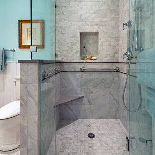 Small arts and crafts master white tile and porcelain tile porcelain tile bathroom photo in Nashville with shaker cabinets, white cabinets, a two-piece toilet, blue walls, an undermount sink and quartz countertops