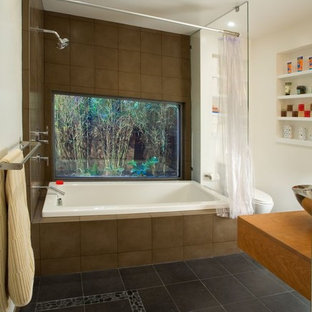 Inspiration for a contemporary drop-in bathtub remodel in San Francisco