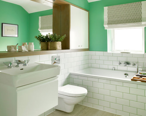 Wonderful Example Of A Mid Sized Transitional Master White Tile And Subway Tile  Porcelain Floor Alcove