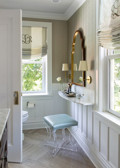 Transitional Bathroom by Laura Lee Home