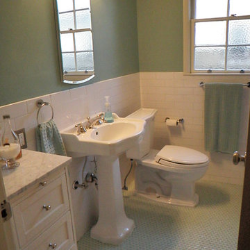 1940'3 bath room up date with glass penny round floor and white subway wall tile