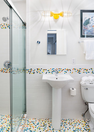 Wonderful Bath Vanities New Jersey Huge Bath Tub Mat Towel Clean Dual Bathroom Sink Painting Bathroom Vanity Pinterest Young Bathroom Toiletries Shopping List RedLowes Bathroom Vanity Tops Room Of The Day: Vibrant Retro Tile Adds Pizazz To A Small Bathroom