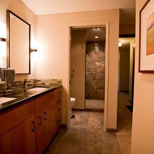 Salle de bain asiatique avec un mur orange : Photos et idées déco de ...