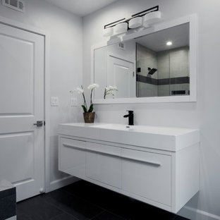 2 Full bathrooms & a new Powder room modern remodeling in Woodland Hills CA