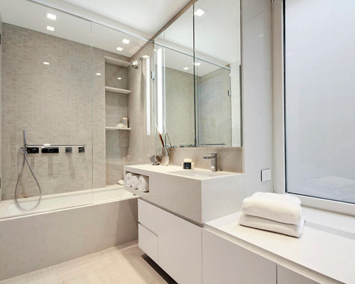 built in tub and shower. Inspiration for a scandinavian beige tile tub shower combo remodel in New  York with white Built In Shelves Shower Houzz