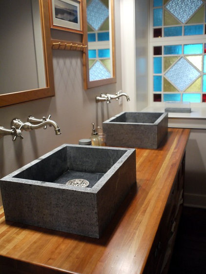 Farmhouse Bathroom by Lesher Natural Stone, Quartz, & Tile
