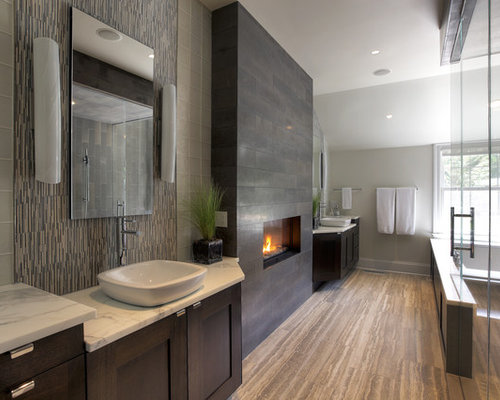 Large Trendy Gray Tile And Glass Tile Travertine Floor Bathroom Photo In  New York With Marble