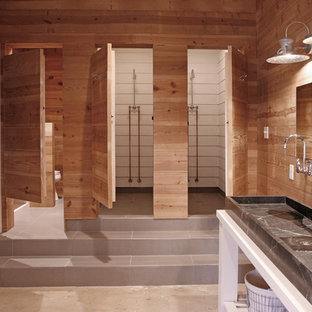 Example of a trendy double shower design in Atlanta