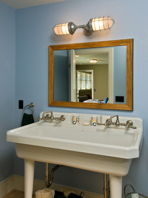 Mountain Style Kidsu0027 Bathroom Photo In Boston With A Trough Sink And Blue  Walls