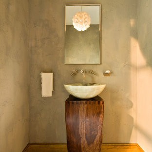 Mountain style bathroom photo in New York with a vessel sink