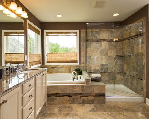 traditional brown floor bathroom idea in boston with granite countertops