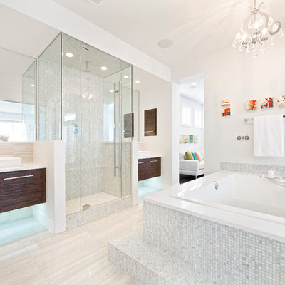 Trendy white tile and mosaic tile bathroom photo in Calgary with a vessel sink, flat-panel cabinets and dark wood cabinets