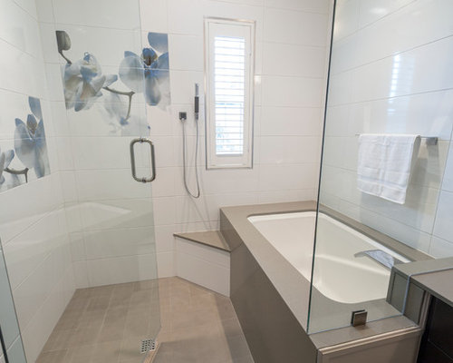 Walk In Shower Bathroom Design Ideas, Remodels & Photos with Engineered Quartz Countertops and ...