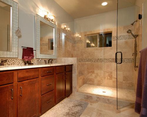 Craftsman stacked stone in shower bathroom design ideas for Stacked stone bathroom ideas